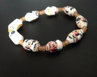 Favorite Mouse stretch bracelet; paper beads jewelry
