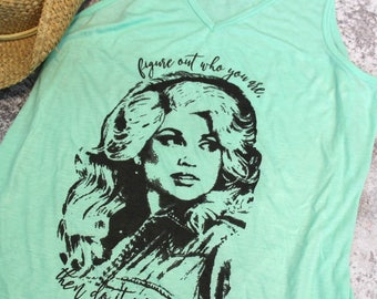 Dolly Parton halftone Style Shirt Figure out who you are then do it on purpose quote Tank Top design Country Southern Style - Ink Printed