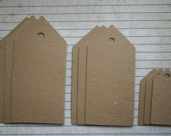 9 bare chipboard die cuts pointed chisel top TAG diecuts 3 sizes