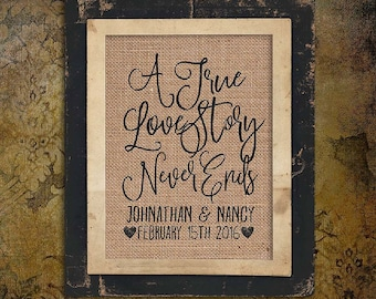 Wedding Gift   Anniversary Gift    Burlap Gift   True Love Story   Valentines Day   Couple Gift   Personalize   8x10   #0237