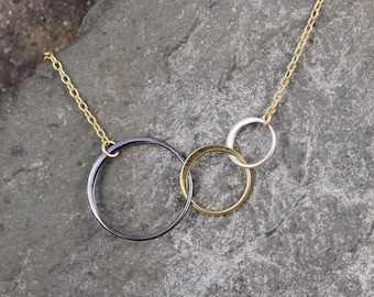 Trio Circle Necklace - Mixed Metals - Graduated Circles - Silver Gold Black - Three Circle Pendant
