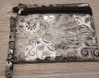 Black & Grey Wallet / Gifts for her / Gifts under 30 / Touchscreen / Wristlet
