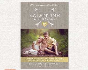 Valentine Mini Session, Photography Marketing Board - Photoshop Template for photographers MV004