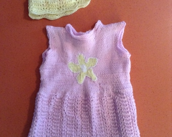 Pink Knitted Toddler Dress with Matching Hat