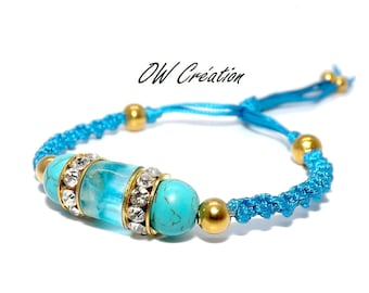 Quartz set in resin and turquoise bracelet