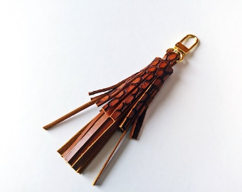 Brown Leather Tassel Handbag Charm, Boho Keychain with Clip, Bag Accessory