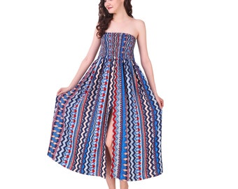 Smocked bodice printed dress