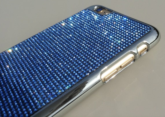 iPhone 6 Plus / iPhone 6s Plus  Blue Sapphire Crystals on Silver Chrome Case.Velvet/Silk Pouch Bag Included,