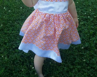 Orange, Red and White Party Dress 6mo-7T, Free Shipping in the US