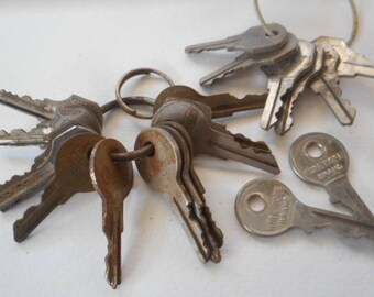 Vintage Silver Padlock Keys for assemblage art, sculpture, instant collection Set of 24