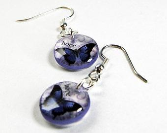purple butterfly earrings,hope earrings,insperatioinal earrings,gifts for her,gifts under 20