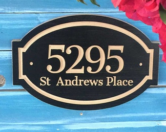 "15""x9"" Oval Banner House Number Engraved Plaque, Housewarming Gift, Open House, Realtor, Address Sign, House Number, Outdoor Sign, Carved"
