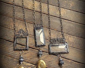 ORIGINAL Soldered Filigree Glass Bevel© and Vintage Brass Locket Necklace