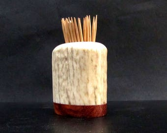 Nice Elk Antler Toothpick Holder, Match Stick Holder, Bubinga Wood Base, TP-44