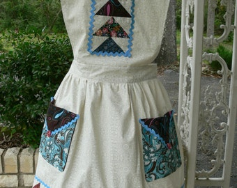 Womens Full Apron,  Flying Geese Quilting, Retro Inspired, cute apron