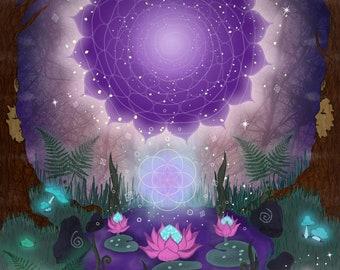 "Art Print A4 / 8x11"" -""Doorway to the Stars""-Sacred geometry-Seed of life-Purple-Lotus Flower-Pop surreal-Visionary-Purple"