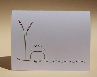Frog in a Pond - Blank White Note Cards - Set of 8