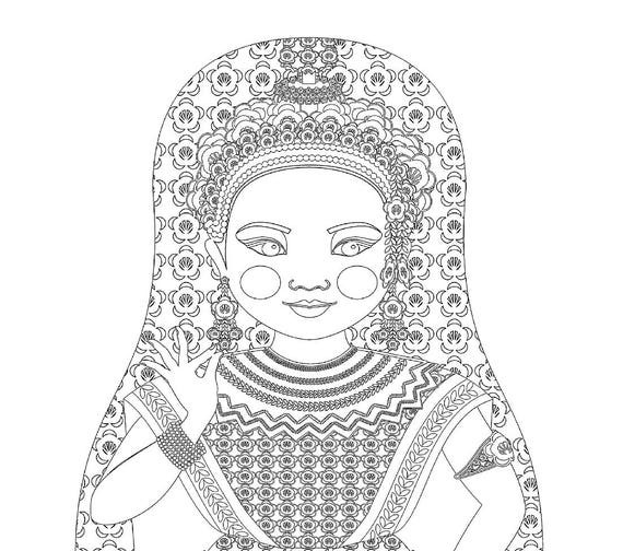 Thai Doll Traditional Dress Coloring Sheet Printable Matryoshka