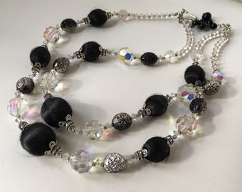 Glorious Double Strand Vendome Crystal and Black Wrapped Bead Necklace