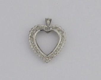 14k White Gold Estate Diamond Heart Pendant