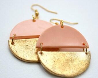 Bohemian earrings, Polymer clay earrings, Peach coloured earrings, Gold earrings, Statement earrings, Geometric earrings, girlfriend gift
