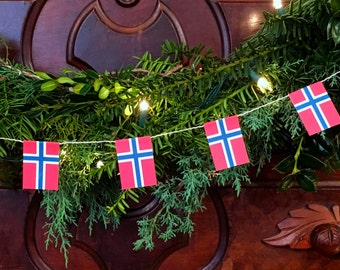 Norway Flag Garland - Christmas Decoration - Paper - 5 feet