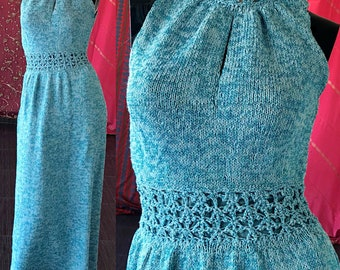 Metallic Knit Dress 70s Metallic Maxi Crochet Lace Bohemian Maxi Dress