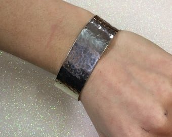 Hammered Sterling Silver Native American Signed PAT Cuff Bracelet