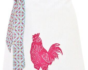 Organic block print rooster apron