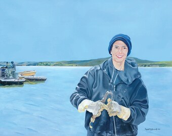 "Giclée Print of Original Painting ""The Oyster Farmer"" Fine Art Print Hand Signed by Artist Ingrid Lockowandt"