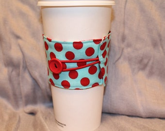 Red and Blue Reversable Coffee Cozy