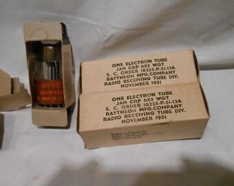 Vintage electron radio tubes Raytheon 6x5 WGT new old stock 1950s radio tubes military packaging for Viet Nam era militaria