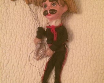 """Vintage Mexican Bandito Marionette Puppet With Pistols And Sombrero 15"""""""