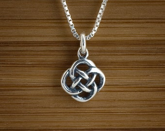 STERLING SILVER Celtic Love Knot Charm Necklace or Earrings - Chain Optional