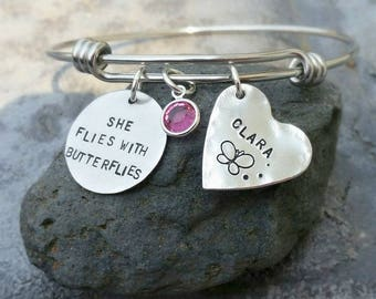 BABY MEMORIAL Bracelet She Flies with BUTTERFLIES for pregnancy loss, stillbirth, infant loss, miscarriage
