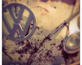 4 x 4 photo card-Old and Gray VW bus