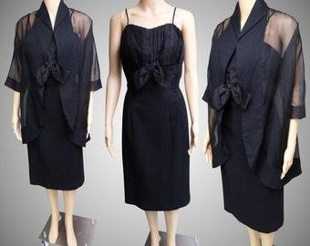 Vintage 1950s Dress | Lilli Diamond Dress | 1950s Black Dress | Matching Sheer Jacket | 1950s Wiggle Dress | 1950s Party Dress | 50s Dress