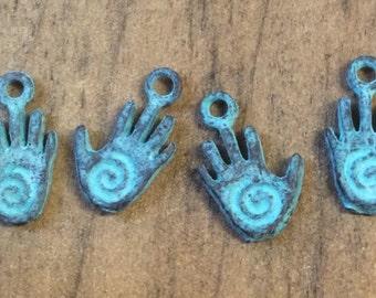 Greek Mykonos Spiral Hand Charm Green Patina 13mm X 8mm Qty 4