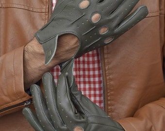 Men's Grey Leather Driving Gloves