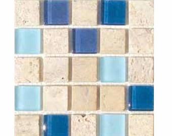 "Lagoon Travertine and Glass Mosaic Tile Mix 1"""