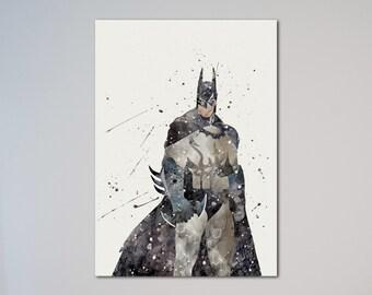 Batman Poster Arkham Knight Watercolor Print The Dark Knight Gotham Knight