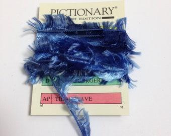 3 yards blue boho trim fibers yarn, blue fibers, blue  trim, blue yarn, blue sparkly fibers, boa trim, blue eyelash trim