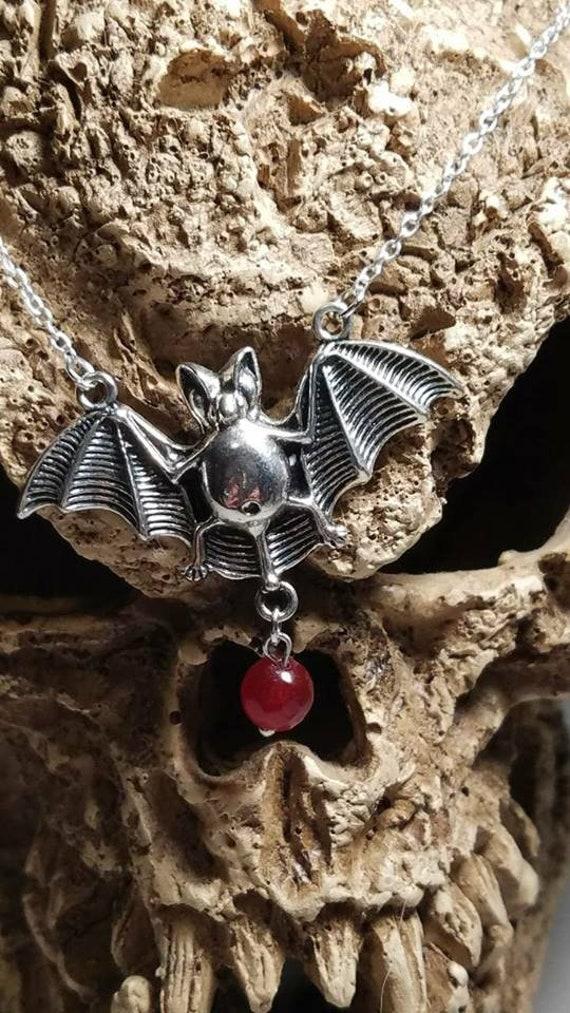 Vampire Bat Necklace with 10mm Garnet stone
