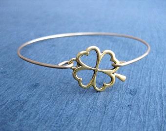 Gold 4 Leaf Clover Bangle Bracelet, Shamrock, Clover Jewelry, Lucky Bangle Bracelet, Lucky Jewelry, Bracelet, Boho bracelet, Gold Jewelry