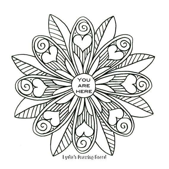 You Are Here Mandala Coloring Page