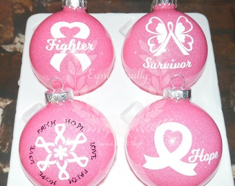 Breast Cancer Awareness Survivor Fighter Personalized Ornaments for Christmas