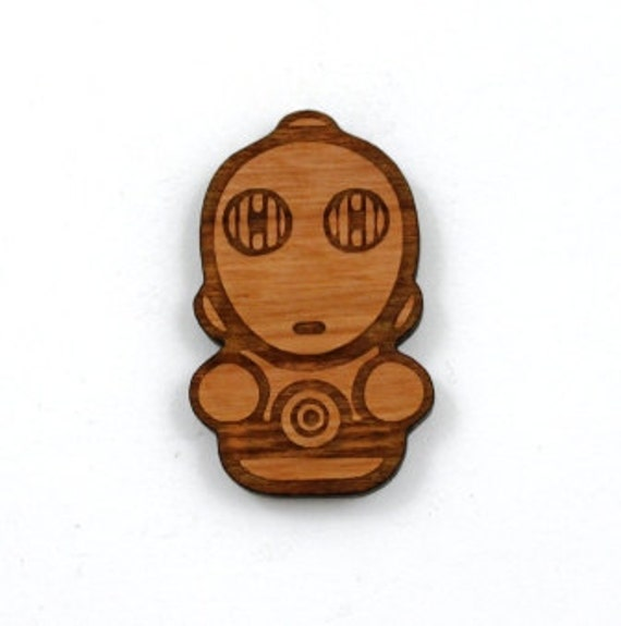 Laser Cut Supplies- 1 Piece.C3PO Charms - Cherry Wood Laser Cut C3PO -Brooch Supplies-Little Laser Lab Sustainable Wood Products