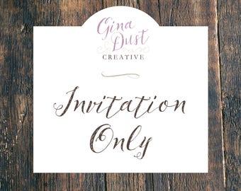 Wedding Invitation Only - Printed Invitation, Printable Invitation