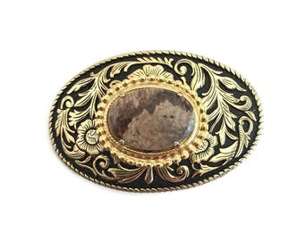 Western Belt Buckle with Brown Agate Stone