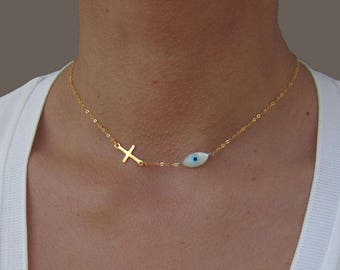 Evil Eye Necklace with Cross, Gold Cross Necklace Woman, Dainty Eye Necklace, Gift For Her, Protection Necklace, Birthday Gift for Niece